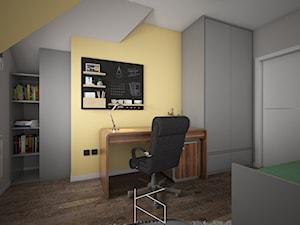 Mieszkanie 58m2, Polkowice - Średnie szare żółte biuro kącik do pracy w pokoju, styl nowoczesny - zdjęcie od KN.wnętrza