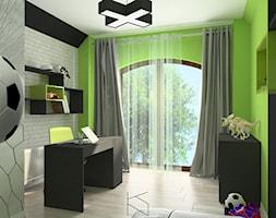 Pokój chłopca - Średni szary zielony czarny pokój dziecka dla chłopca dla dziewczynki dla ucznia dla nastolatka, styl tradycyjny - zdjęcie od KN.wnętrza