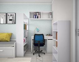 Projekt pokoju dla nastolatki - Mały szary niebieski pokój dziecka dla chłopca dla dziewczynki dla ucznia dla nastolatka, styl tradycyjny - zdjęcie od KN.wnętrza