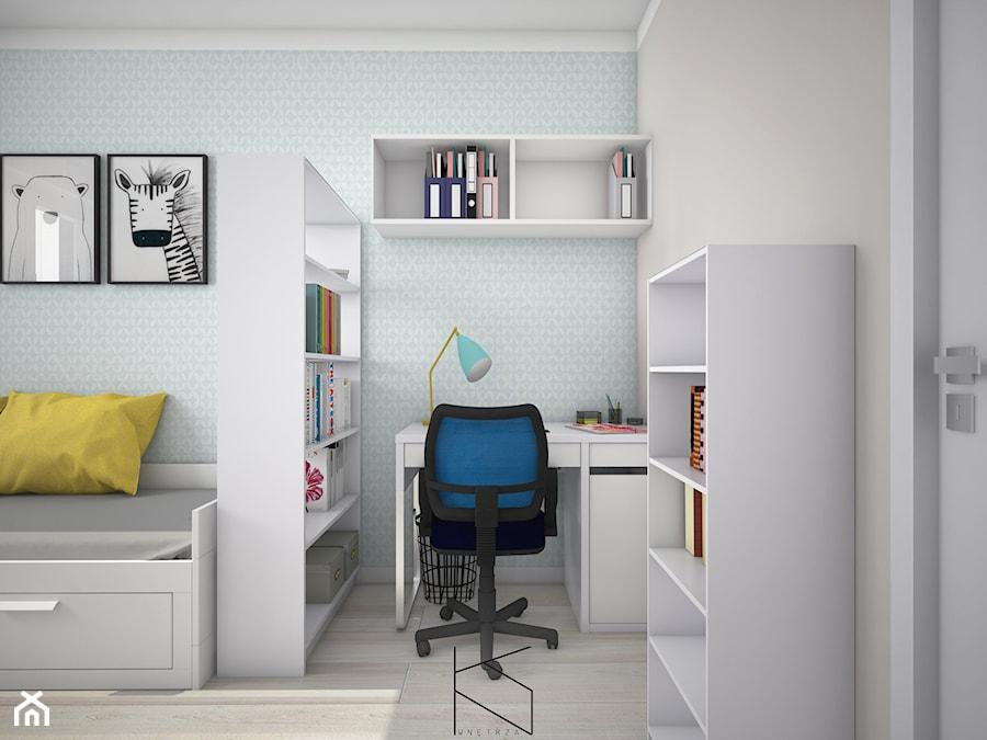 Aranżacje wnętrz - Pokój dziecka: Projekt pokoju dla nastolatki - Mały szary niebieski pokój dziecka dla chłopca dla dziewczynki dla ucznia dla nastolatka, styl tradycyjny - KN.wnętrza. Przeglądaj, dodawaj i zapisuj najlepsze zdjęcia, pomysły i inspiracje designerskie. W bazie mamy już prawie milion fotografii!