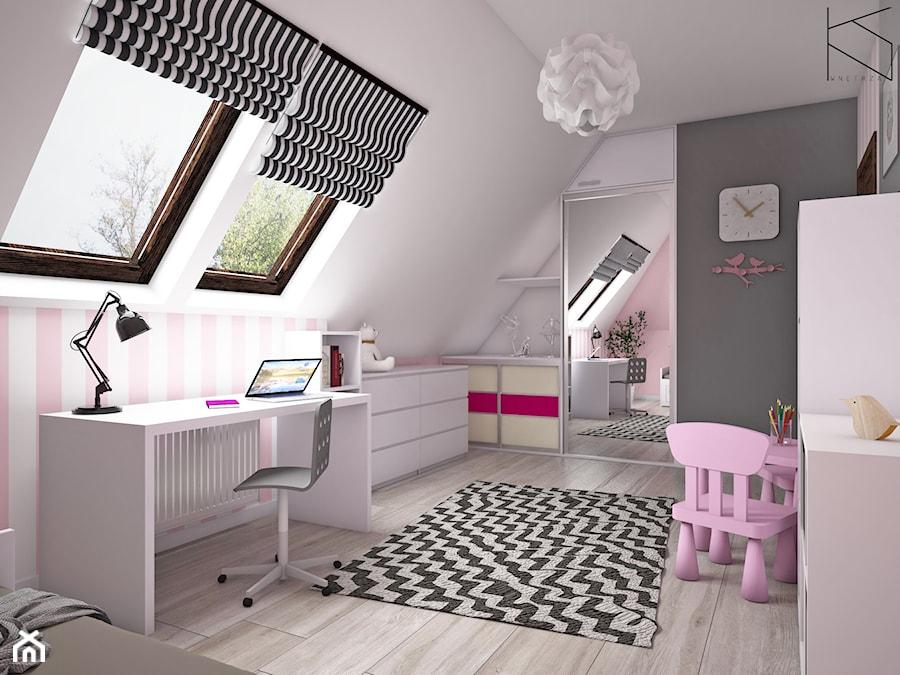 Pokój dziewczynki - Średni biały czarny pokój dziecka dla chłopca dla dziewczynki dla ucznia dla malucha dla nastolatka, styl tradycyjny - zdjęcie od KN.wnętrza