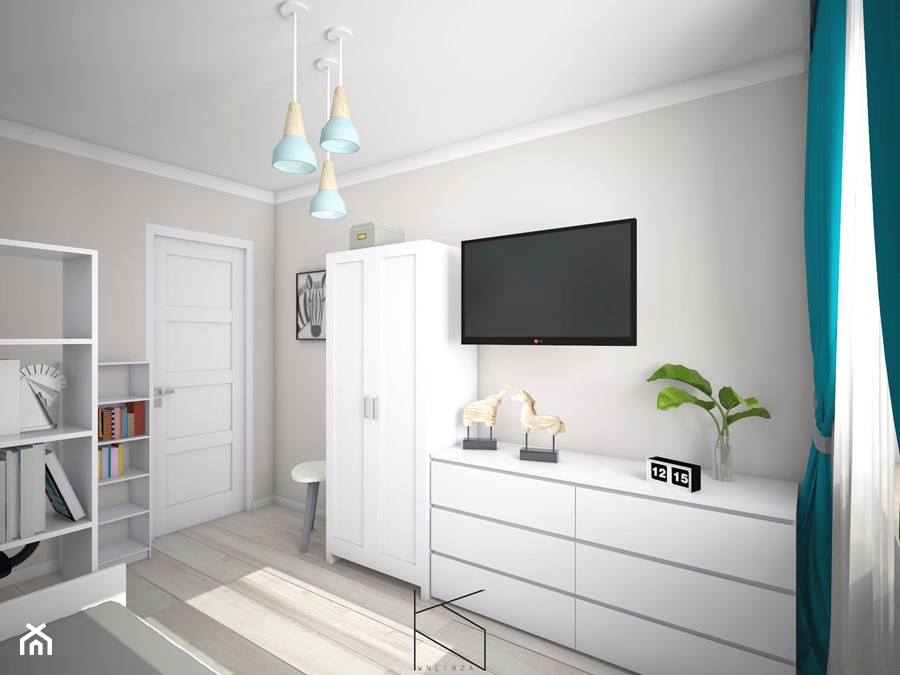 Projekt pokoju dla nastolatki - Średni szary pokój dziecka dla chłopca dla dziewczynki dla nastolatk ... - zdjęcie od KN.wnętrza