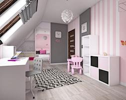Pokój dziewczynki - Średni biały szary różowy pokój dziecka dla dziewczynki dla ucznia dla malucha, styl tradycyjny - zdjęcie od KN.wnętrza