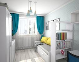 Projekt pokoju dla nastolatki - Średni szary pokój dziecka dla chłopca dla dziewczynki dla malucha dla nastolatka, styl tradycyjny - zdjęcie od KN.wnętrza