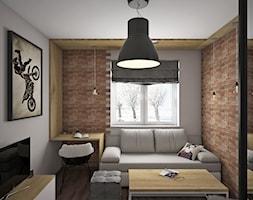 Pokój nastolatka - Mały szary pokój dziecka dla chłopca dla dziewczynki dla ucznia dla nastolatka, styl industrialny - zdjęcie od KN.wnętrza
