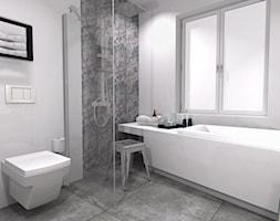 Średnia szara łazienka w bloku w domu jednorodzinnym z oknem, styl industrialny - zdjęcie od M3 MONIKA MIGACZ