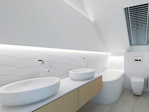 SZEREGOWIEC POD POZNANIEM - Średnia biała łazienka na poddaszu w domu jednorodzinnym z oknem, styl nowoczesny - zdjęcie od HELEN PROJEKT