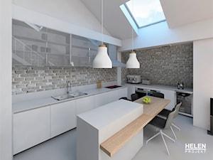 MIESZKANIE Z ANTRESOLĄ DLA SINGLA 97m2 - ZALASEWO - Średnia otwarta biała beżowa kuchnia w kształcie litery l w aneksie z wyspą z oknem, styl industrialny - zdjęcie od HELEN PROJEKT