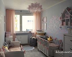 Pokój dla dziewczynek - Mały szary pokój dziecka dla chłopca dla dziewczynki dla rodzeństwa dla ucznia dla niemowlaka dla malucha, styl skandynawski - zdjęcie od dekoratoramator.pl