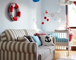Pokój dziecka - Średni niebieski pokój dziecka dla chłopca dla niemowlaka, styl skandynawski - zdjęcie od dekoratoramator.pl