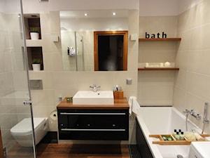 Łazienka - Średnia beżowa łazienka w bloku bez okna, styl nowoczesny - zdjęcie od dekoratoramator.pl