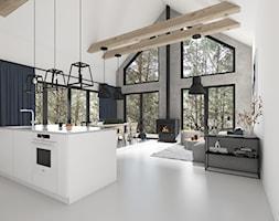 Nowoczesna stodoła - Duży szary biały salon z kuchnią z jadalnią, styl rustykalny - zdjęcie od TO DO.
