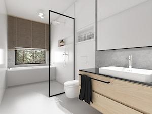 Nowoczesna stodoła - Średnia biała szara łazienka na poddaszu w bloku w domu jednorodzinnym z oknem, styl minimalistyczny - zdjęcie od TO DO.