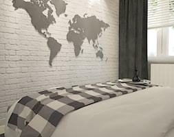 Dom pod Siedlcami - Mała szara sypialnia małżeńska, styl nowoczesny - zdjęcie od iga-figlewska