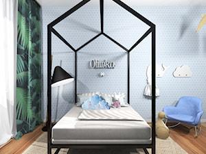 DOM W TROPIKALNYM KLIMACIE - Mały niebieski pokój dziecka dla dziewczynki dla malucha dla nastolatka, styl eklektyczny - zdjęcie od Archigrafika