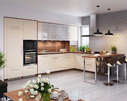 Inspiracje - Duża otwarta biała szara kuchnia w kształcie litery l w aneksie, styl skandynawski - zdjęcie od Salony Agata