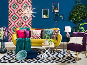 Przytulny salon - Średni niebieski turkusowy kolorowy salon, styl eklektyczny - zdjęcie od Salony Agata