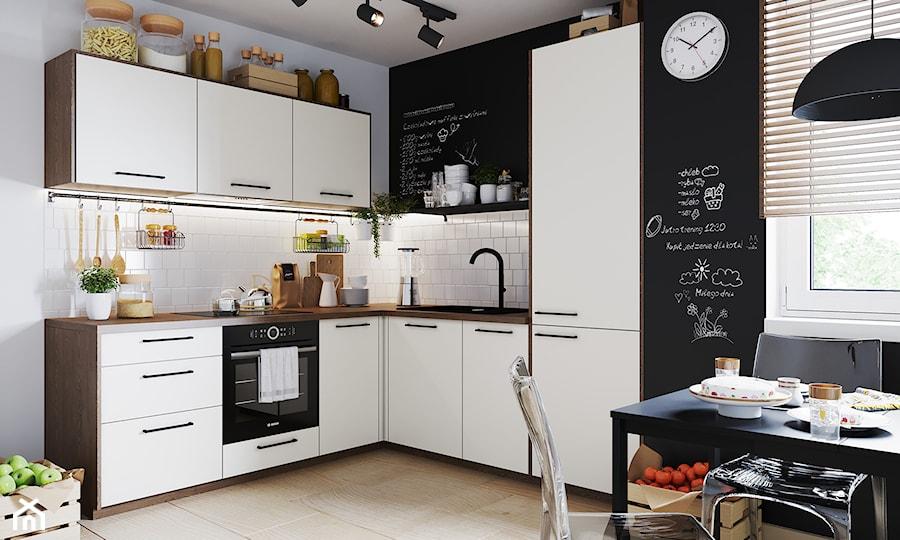 Salon - Średnia otwarta biała czarna kuchnia w kształcie litery l z oknem, styl eklektyczny - zdjęcie od Salony Agata