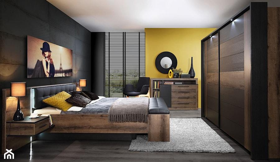 Sypialnia - Średnia żółta czarna sypialnia małżeńska, styl nowoczesny - zdjęcie od Salony Agata