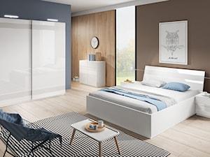 Sypialnia - Średnia szara brązowa sypialnia małżeńska, styl skandynawski - zdjęcie od Salony Agata