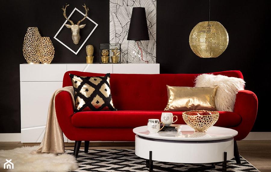Przytulny salon - Średni czarny salon, styl glamour - zdjęcie od Salony Agata