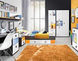 Pokój dziecka i nastolatka - Średni szary pomarańczowy czarny pokój dziecka dla chłopca dla dziewczynki dla ucznia dla malucha dla nastolatka, styl nowoczesny - zdjęcie od Salony Agata