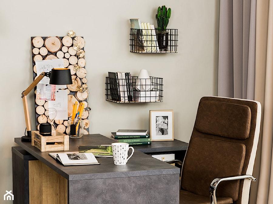 Domowe biuro - Małe beżowe biuro domowe kącik do pracy w pokoju, styl eklektyczny - zdjęcie od Salony Agata