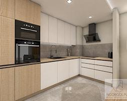Mieszkanie sportowców - Wieliczka - Średnia otwarta biała szara kuchnia w kształcie litery l w aneksie, styl nowoczesny - zdjęcie od NGORGOL