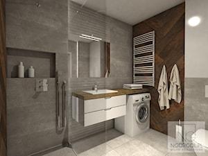 Mieszkanie sportowców - Wieliczka - Średnia biała łazienka w bloku w domu jednorodzinnym bez okna, styl skandynawski - zdjęcie od NGORGOL