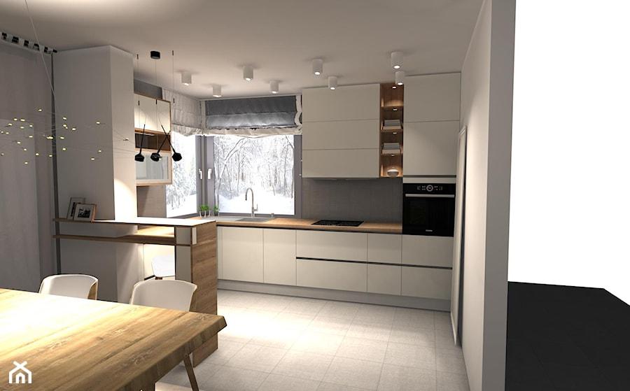 kuchnie - Średnia otwarta biała kuchnia w kształcie litery u z oknem, styl skandynawski - zdjęcie od newSpaces