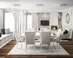 #11 Dom w Białymstoku - Duża otwarta biała szara jadalnia w salonie, styl glamour - zdjęcie od BOLD Design