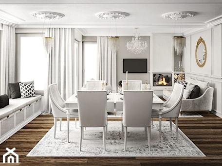 Aranżacje wnętrz - Jadalnia: #11 Dom w Białymstoku - Duża otwarta biała szara jadalnia w salonie, styl glamour - BOLD Design. Przeglądaj, dodawaj i zapisuj najlepsze zdjęcia, pomysły i inspiracje designerskie. W bazie mamy już prawie milion fotografii!