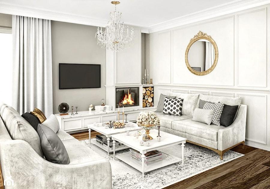 Aranżacje wnętrz - Salon: #11 Dom w Białymstoku - Mały szary salon, styl glamour - BOLD Design. Przeglądaj, dodawaj i zapisuj najlepsze zdjęcia, pomysły i inspiracje designerskie. W bazie mamy już prawie milion fotografii!