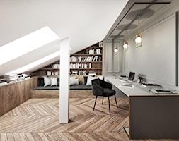 #13 Dom w Warszawie - Średnie szare białe biuro domowe kącik do pracy na poddaszu w pokoju, styl nowoczesny - zdjęcie od BOLD Design