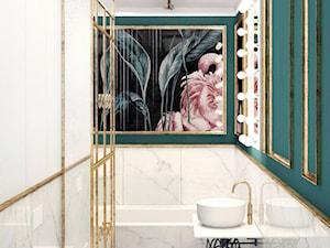 #12 Mieszkanie we Wrocławiu - Średnia zielona łazienka w bloku w domu jednorodzinnym bez okna, styl glamour - zdjęcie od BOLD Design