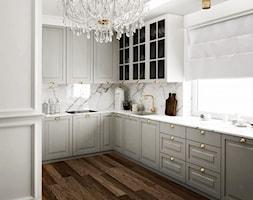 #11 Dom w Białymstoku - Średnia biała kuchnia w kształcie litery l z oknem, styl glamour - zdjęcie od BOLD Design