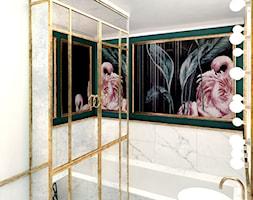 #12 Mieszkanie we Wrocławiu - Mała zielona łazienka w bloku w domu jednorodzinnym bez okna, styl glamour - zdjęcie od BOLD Design