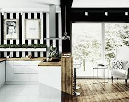 #00 Dom pod Warszawą - Średnia otwarta szara czarna kuchnia w kształcie litery u z oknem, styl glamour - zdjęcie od BOLD Design