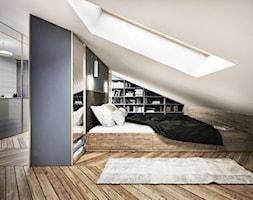 #13 Dom w Warszawie - Średnia biała niebieska sypialnia małżeńska na poddaszu, styl nowojorski - zdjęcie od BOLD Design