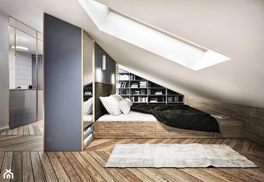 Aranżacje wnętrz - Sypialnia: #13 Dom w Warszawie - Średnia biała niebieska sypialnia małżeńska na poddaszu, styl nowojorski - BOLD Design. Przeglądaj, dodawaj i zapisuj najlepsze zdjęcia, pomysły i inspiracje designerskie. W bazie mamy już prawie milion fotografii!