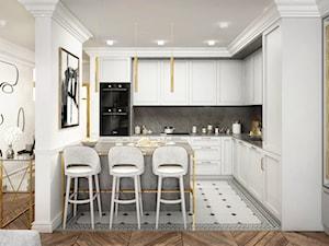 #13 Dom w Warszawie - Średnia otwarta biała szara kuchnia w kształcie litery l z wyspą, styl nowojorski - zdjęcie od BOLD Design