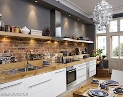 Duża otwarta szara kuchnia jednorzędowa w aneksie - zdjęcie od MartSz - Homebook