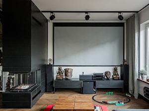 Ożarów Mazowiecki - Średni biały czarny salon - zdjęcie od Qbik Design