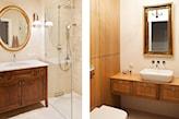 łazienka w odcieniach beżu i ciepłego drewna, kabina walk-in