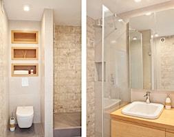 Sadyba - Średnia beżowa łazienka bez okna, styl nowoczesny - zdjęcie od Qbik Design