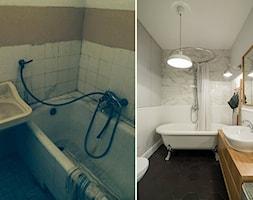 Żoliborz - Mała biała łazienka bez okna, styl skandynawski - zdjęcie od Qbik Design