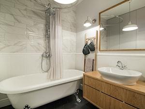 Żoliborz - Średnia beżowa łazienka bez okna, styl skandynawski - zdjęcie od Qbik Design
