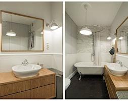 Żoliborz - Mała łazienka w bloku w domu jednorodzinnym bez okna, styl skandynawski - zdjęcie od Qbik Design
