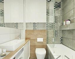 Mieszkanie Jaworzno - Mała szara łazienka w bloku bez okna, styl skandynawski - zdjęcie od ZIN studio
