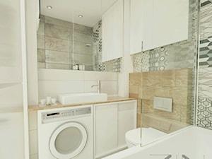 Mieszkanie Jaworzno - Średnia biała szara łazienka w bloku w domu jednorodzinnym bez okna, styl skandynawski - zdjęcie od ZIN studio